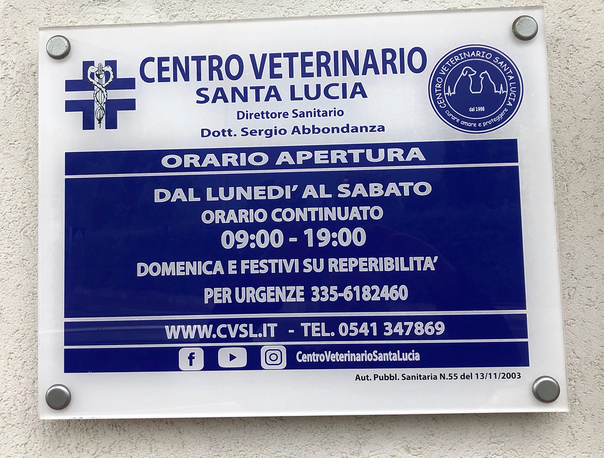 Centro Veterinario Santa Lucia Targa Orario